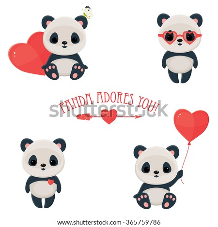 Saint Valentine's Day cute web icons. Panda in love. Cute asian bear, arrow and heart. Text
