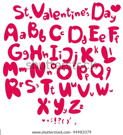 Saint Valentine's Day font from my big font collection