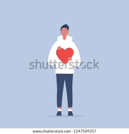 Saint Valentines Day. Young character holding a red heart. Relationships. Love. Romance. Emotions. Flat editable vector illustration, clip art
