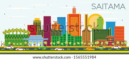 Saitama Japan City Skyline with Color Buildings and Blue Sky. Vector Illustration. Business Travel and Tourism Concept with Modern Architecture. Saitama Cityscape with Landmarks.