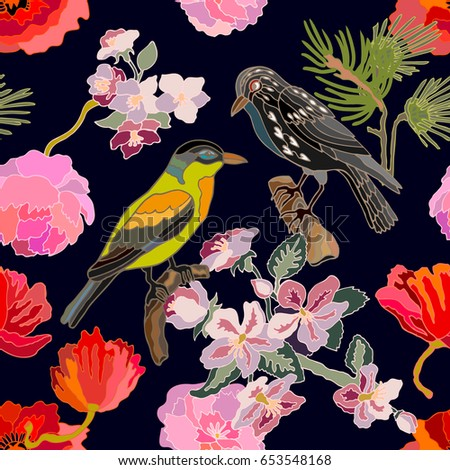 Sakura blossom in Japanese garden. Seamless oriental pattern with Victorian motifs. Blooming flowers, leaves and blackbirds. Vintage textile collection. Colorful on dark blue.