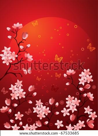 Sakura blossoms - stock vector