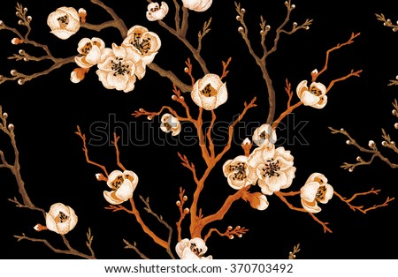 sakura branch on a black