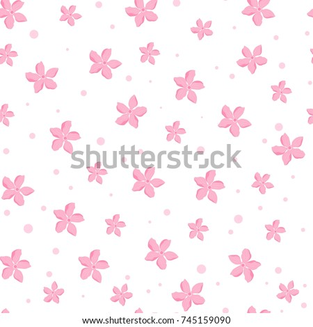 Sakura Cherry blossoms seamless pattern of vector illustration on white background