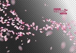 Sakura falling petals. Vector pink flying petals with blurred defocused transparent detail