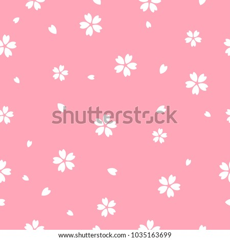 Sakura flower seamless pattern vector illustration. Sakura with petals falling on pink background, Flat design