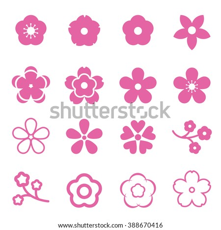 sakura flowers icon set