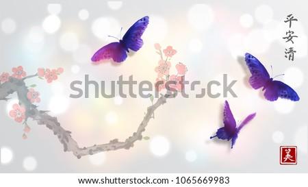 sakura in blossom and three big
