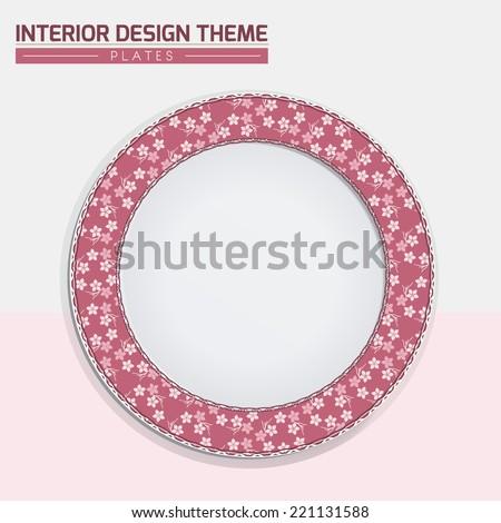 Sakura Japanese Cherry pattern dinner plate design. Dinning dish vector template. Home decor element. Modern interior design element. Vector illustration. Editable eps10 contains the pattern swatch.
