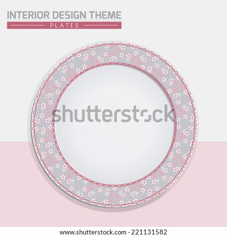 Sakura Japanese Cherry pattern dinner plate design in Grey. Dinning dish vector template. Home decor element. Modern interior design element. Editable eps10 contains the pattern swatch.