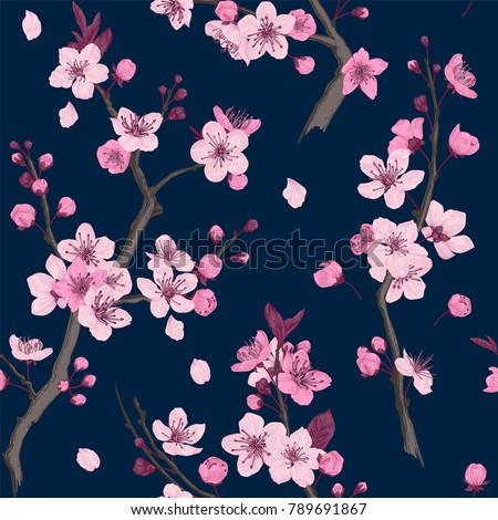 sakura seamless pattern pink