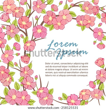sakura tree branch frame template vector illustration ez canvas