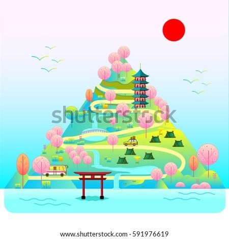 sakura tree in mountain holiday