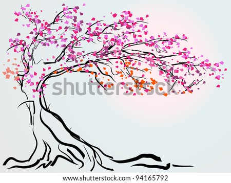 Sakura with red blossom in line style.