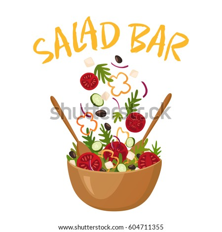 Salad bar composition with wood pot of greek salad for vegetarian menu and health food advertising flat vector illustration