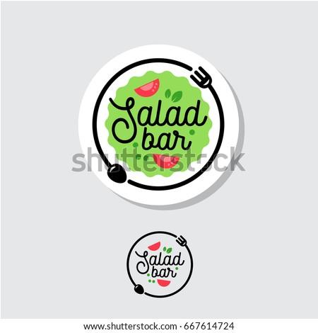 Salad bar logo. Cafe or restaurant emblem. Plate with fork, spoon and salad on a light background.