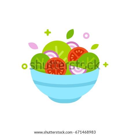Stock Photo Salad bowl vector illustration. Simple flat cartoon design food icon.