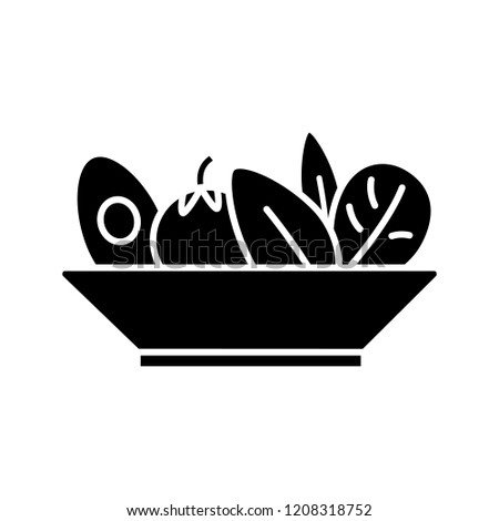 Salad glyph icon. Healthy nutrition. Vegetarian food. Restaurant or cafe menu. Salad bar. Right business lunch menu. Silhouette symbol. Negative space. Vector isolated illustration