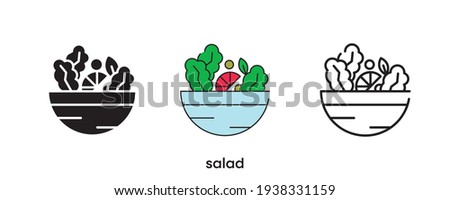 Salad icon design. Salad icon set in silhouette, colorful and linear. Salad icon line vector illustration isolated on a clean background for your web mobile application logo design. Modern line.
