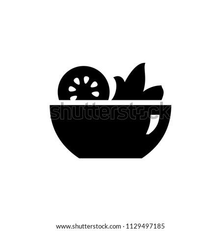 Salad icon simple flat style illustration image. Green salad icon.