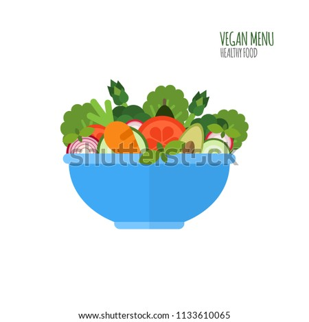 Salad ingredients in flat style. Vegan menu. Salad bowl. Food icon. Healthy food concept. Vector illustration. #1133610065