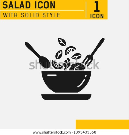 Salad solid Icon. Food dish recipe, nutrition concept, salad ingredients, vector solid icon. Salad and bowl icon Collection Vector illustration concept. Healthy vegetables food and bowl nature