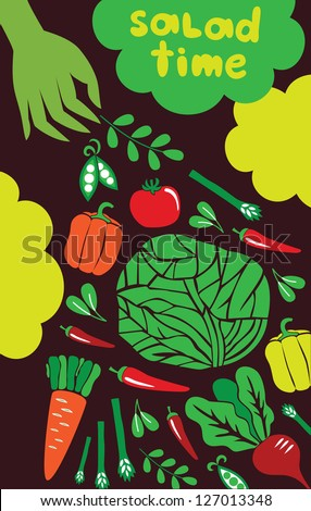 salad time card design. vector illustration