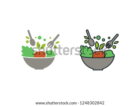 Salad Vector Designs Collection - healthy vegetables food and bowl  #1248302842