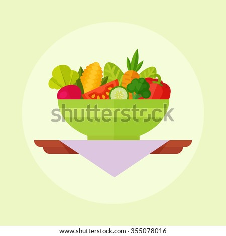 Salad vector illustration isolated on a colored background. Salad bowl in flat style. Concept fresh, natural, healthy food. Vegetable salad in a plate.