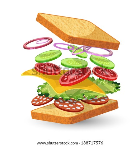 Salami sandwich ingredients food emblem with bread onion cucumber tomato cheese lettuce salami isolated vector illustration