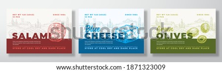 Salami Sausage, Olives and Blue Cheese Food Label Templates Set. Abstract Vector Packaging Design Layouts Bundle. Modern Typography Banners with Hand Drawn Rural Landscape Background. Isolated. Foto stock ©