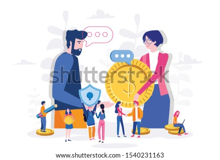 Salary for office workers, business partners payment, with small employ around. Vector illustration for web, print, presentation.