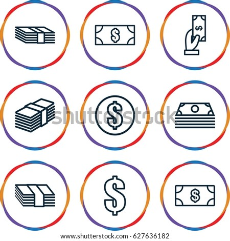 Salary icons set. set of 9 salary outline icons such as Money, Payment, money