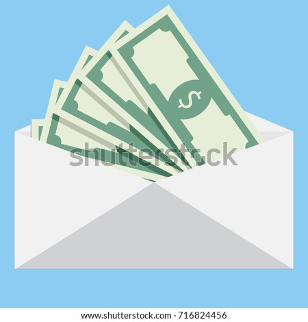 Salary in envelope. Salary increase, money payroll, compensation income, vector salary survey illustration