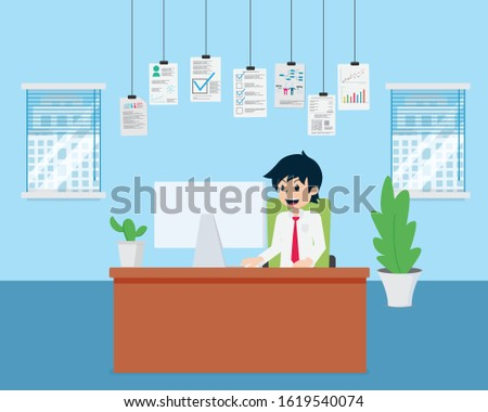 Salary Man Preparing data in the office using a computer. Before doing business, prepare the data together with graphs, statistics, customer information, strengths, and weaknesses.