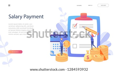 Salary payment, happy people get his salary, money, payroll  vector illustration concept for landing page, template, ui,web, social media, mobile app, poster, banner. List of Salaries for Careers