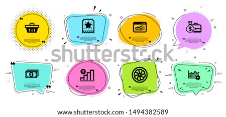 Salary, Web traffic and Shopping basket line icons set. Chat bubbles with quotes. Operational excellence, Loyalty ticket and Fan engine signs. Payment, Graph chart symbols. Vector