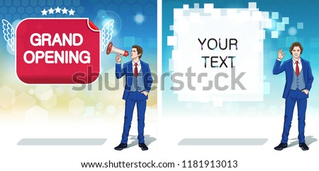 Sale advertisement concept clipart. Announcement banner template. Shop grand opening advertising layouts. Colorful cartoon characters. Vector illustration.