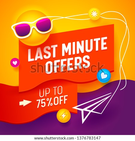 Sale Advertising Banner with Cartoon Sun Wearing Sunglasses on Abstract Background with Social Media Icons and Paper Airplane, Summer Shopping Store Discount Last Minute Offers Ad. Vector Illustration