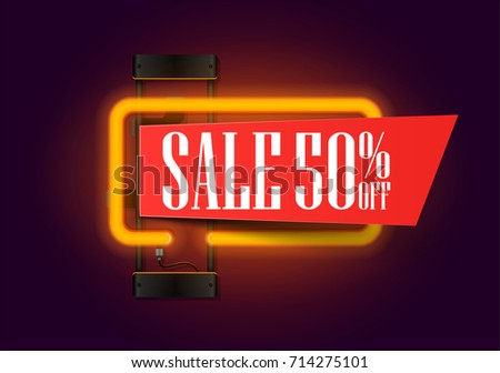 Sale and discount banner with orange neon lights lamp and piece of paper for your offer text.