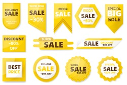 Sale and discount. Emblems for big seasons sales with percentage set. Vector illustration