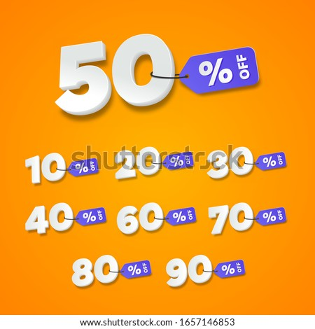 Sale and discount labels orange. Price off tag icon flat design collection set. 10, 20, 30, 40, 50, 60, 70, 80, 90 percent sale. Vector illustration.