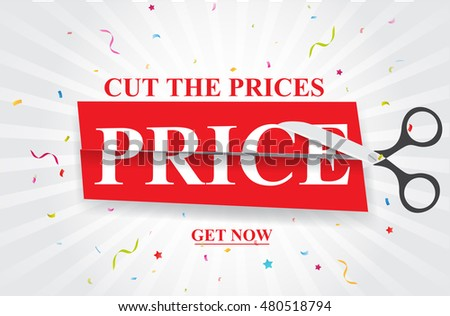 Sale and discounts cut prices design for banner or poster