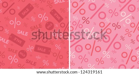 Sale and percentage signs two seamless pattern backgrounds