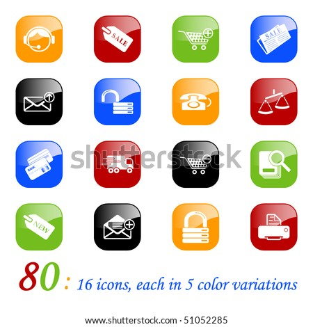Sale and shopping icons - set of 16 different icons, each with 5 different backgrounds.