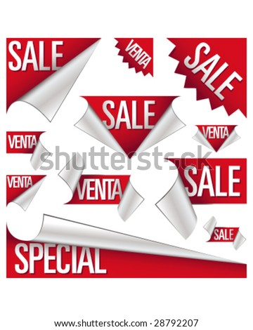 Sale and venta stickers, corner tabs, ribbons, and labels for use in advertising, print promotions, product packaging, and websites