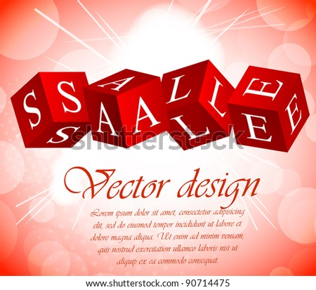 Sale background with cube in red color