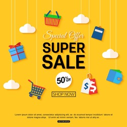 Sale background with shop icons. Vector illustration