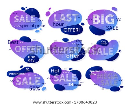 Sale badge set. Isolated sale special price offer badge tag sign icon collection. Vector shopping business promotion banner design