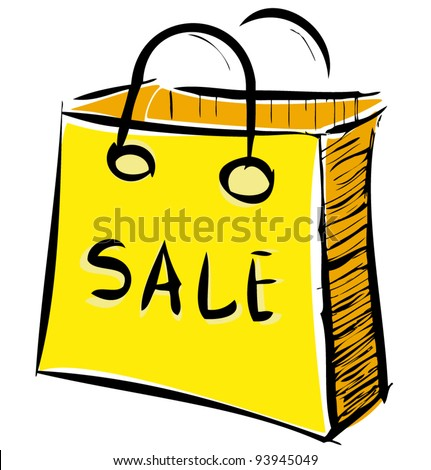Sale bag icon in yellow color. Sketch vector illustration in doodle style